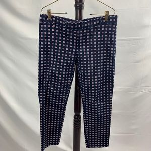 Navy Blue GAP Slim Cropped Patterned Pants Stretch